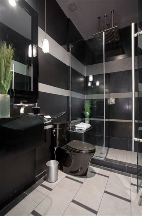 grey and black bathroom ideas black and gray striped contemporary bathroom contemporary bathroom by chris