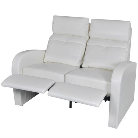 Cinema Recliner Sofa Artificial Leather Home Cinema Recliner Reclining Sofa 2 Seat White Vidaxl