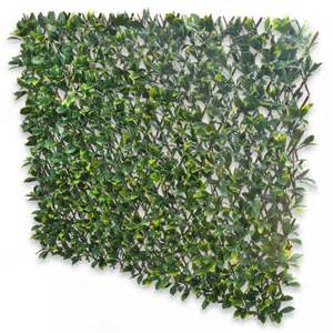 Leaf Trellis expanding fence with artificial green laurel leaves leaf trellis to screen areas of your garden