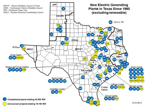 texas electric utility map ercot new generating plants in texas since 1996 energy topics and trends