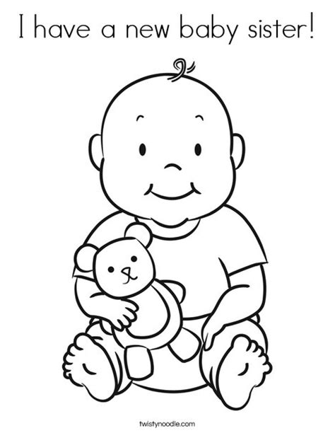 coloring pages new baby i have a new baby sister coloring page twisty noodle