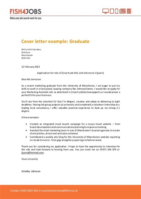 Graduate Cover Letter Uk Fish4jobs Graduate Cover Letter Exle