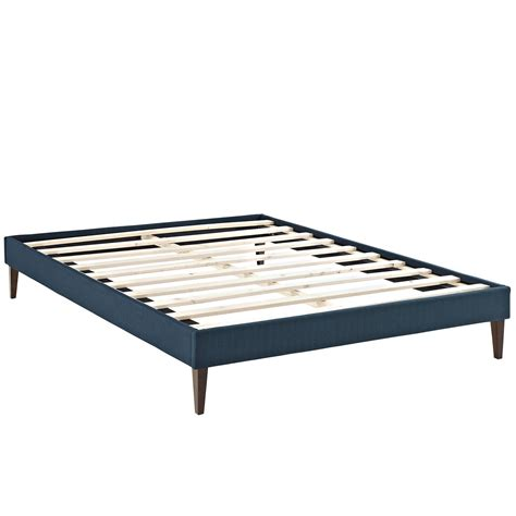 Pedestal Bed Frame Modern Fabric Platform Bed Frame With Square Legs Azure