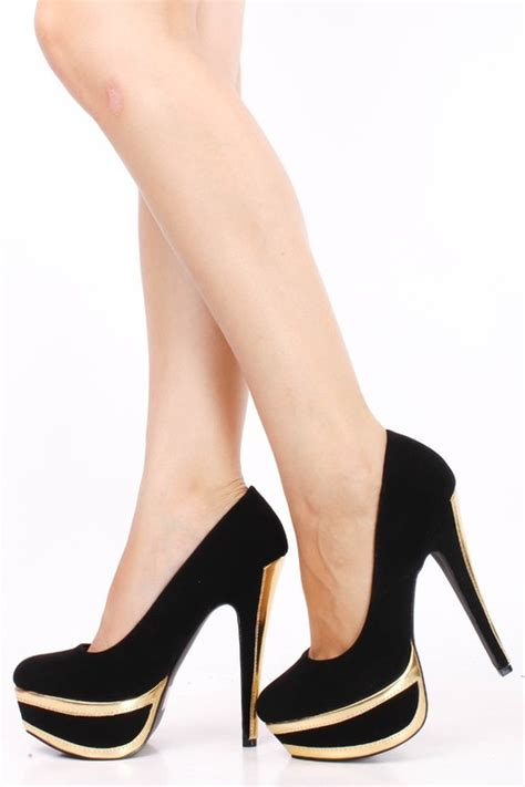 popular high heels gold and black high heels oasis fashion