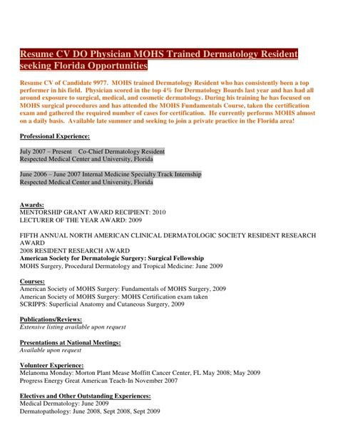 Physician Assistant Resume Sample by Resume Cv D O Physician Mohs Trained Dermatology Resident