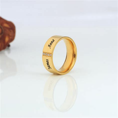 Cincin Gold Plated Zirconia Stainless Steel stainless steel 14k gold plated band with cubic zirconia for him
