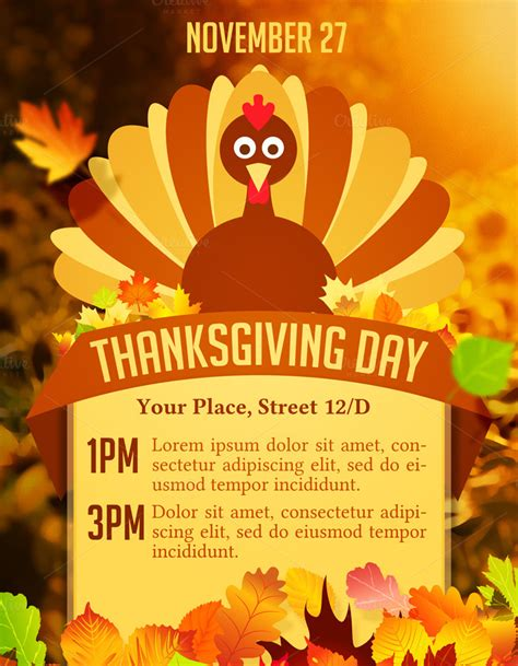 thanksgiving day flyer flyer templates on creative market