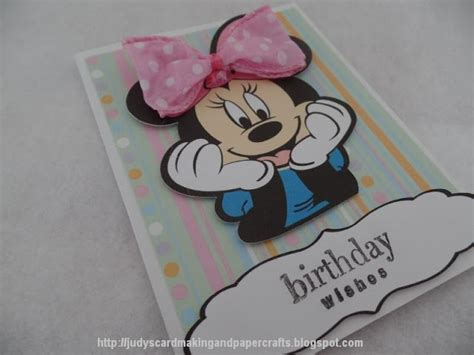 Handmade Minnie Mouse Birthday Cards - judy s handmade creations minnie mouse birthday wishes card