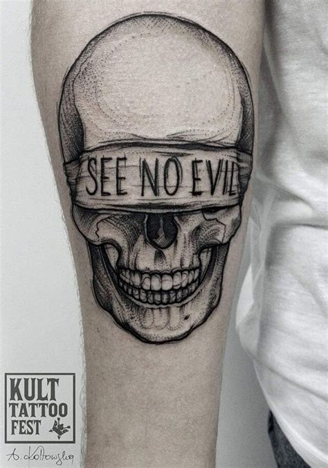 see no evil tattoo 60 black and grey skull tattoos tattoos