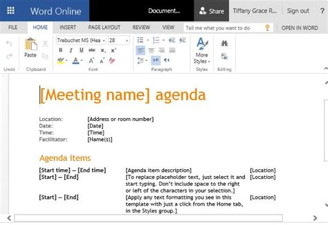 Creating An Agenda Using A - how to create business meeting agenda in microsoft word
