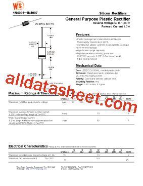1n4004 siliciumdiode datasheet 1n4004 datasheet pdf wing shing computer components