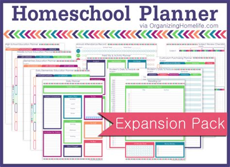 printable homeschool planner free printable homeschool planner the expansion pack