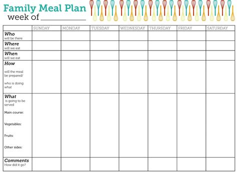 printable eating planner design lass family meal plan printable family meal free