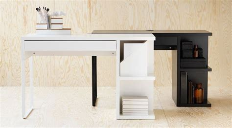 white and black micke desks with integrated storage home