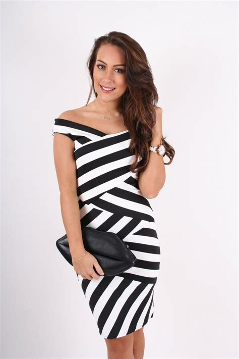 Dress Black White Stripes black and white striped dress cocktail dresses 2016