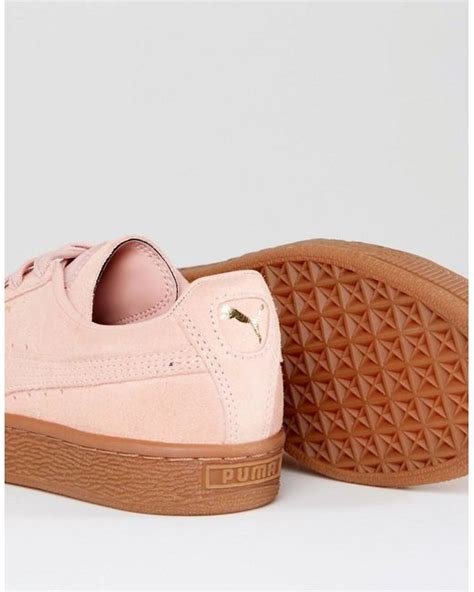 pink suede classic sneakers with gum sole in pink lyst