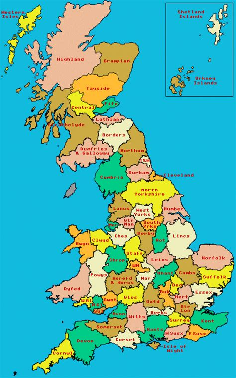counties map map of counties of great britain scotland and wales 1974 1996
