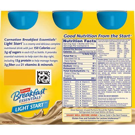 carnation instant breakfast light start nestle carnation instant breakfast nutrition information