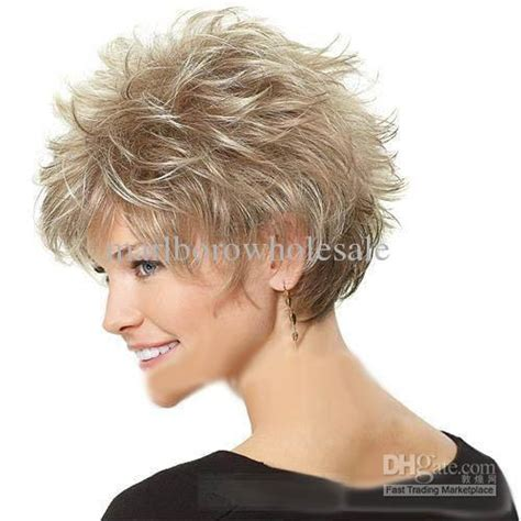 sle of short haircuts stylish casual hair blonde short curly wig curling