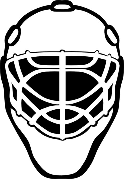 hockey helmet coloring pages goalie mask simple outline clip art at clker com vector