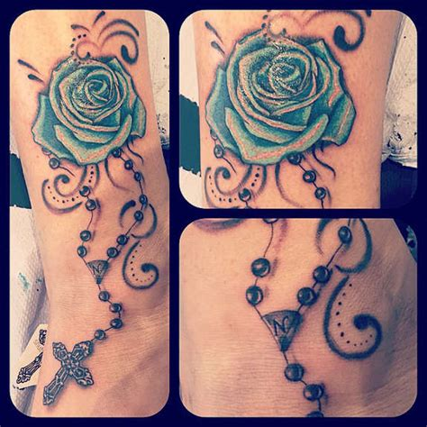 rose tattoo with rosary beads 18 blessed cross rosary ankle tattoos