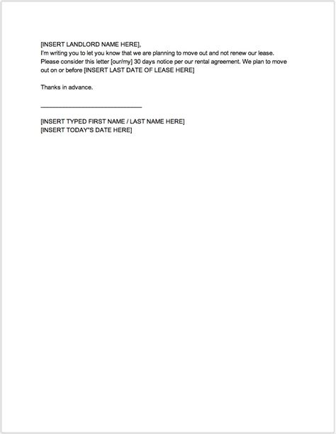 30 day notice template template for 30 day notice to landlord images