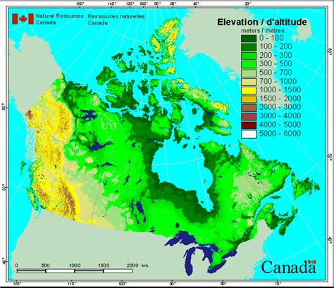elevation map of usa and canada canada map elevation