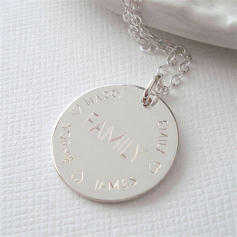 engraved on sterling silver engraved family necklace by