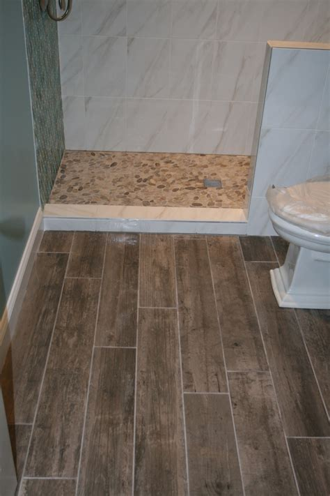river rock bathroom ideas rock tile flooring