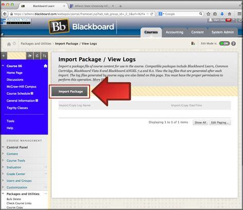 blackboard help desk blackboard learn importing an archive transferring courses athens state help desk
