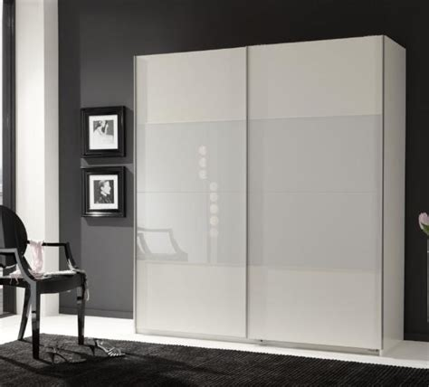 White Sliding Door Wardrobes Uk by Munich 2 Door Sliding Wardrobe White And White Glass