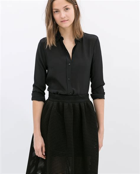 New Exclusive Blouse Zara Rumbai Murah zara black silk blouse sleeved blouse