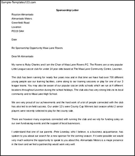 Sponsorship Letter For Soccer Tournament Sports Sponsorship Letter Template Free Printable Sle Templates