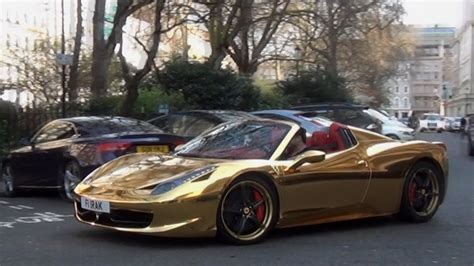 golden ferrari laferrari chrome gold ferrari 458 revs combos in london youtube