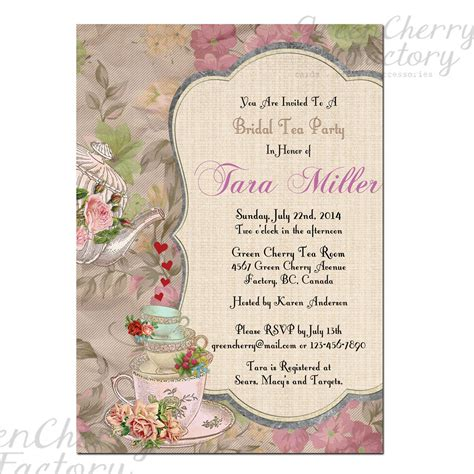 free sles of bridal shower invitations tea invitation template high tea invitations