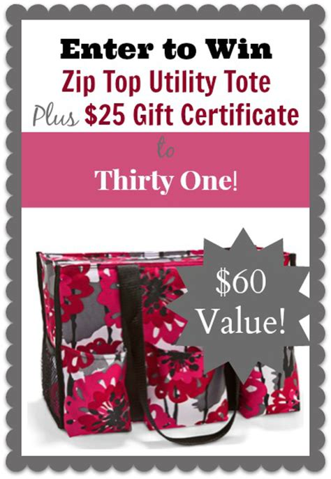Thirty One Giveaway - giveaway enter to win thirty one zip tote and 25 certificate total value 60