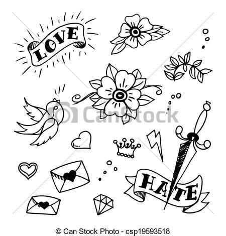 Lipstik Avione set of school tattoos elements set of school