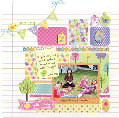 doodlebug scrapbook layout introducing the hello collection from