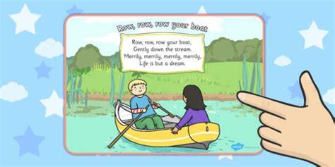 row the boat nursery rhyme row row row your boat nursery rhyme display poster displays
