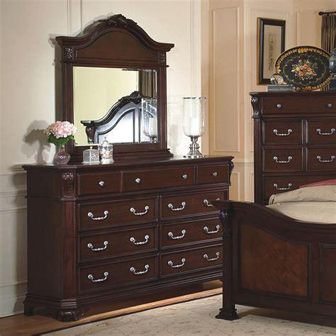 classic emilie drawer dresser mirror  decorative pediment set dunk bright furniture