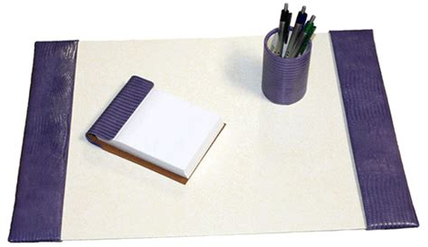 Small Desk Blotter by Small Croco Embossed Leather Desk Pad Set