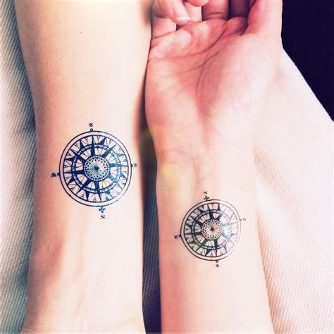 small couple tattoo compass tattoos