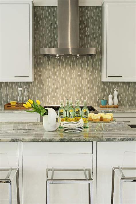 Kitchen with Gray Diamond Tile Backsplash   Cottage   Kitchen