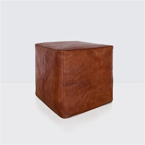 Leather Cube Ottoman Brown Leather Ottoman Moroccan Furniture The Citizenry