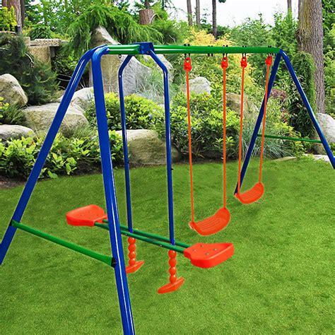 steel frame swing set kids swing set outdoor garden playground children seesaw