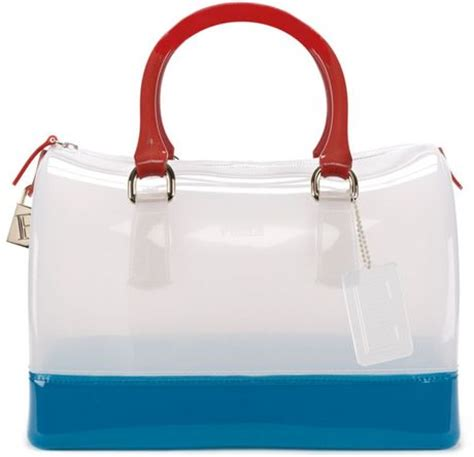 Furla Jelly Bag Preloved furla jelly bauletto satchel in transparent white tricolor lyst