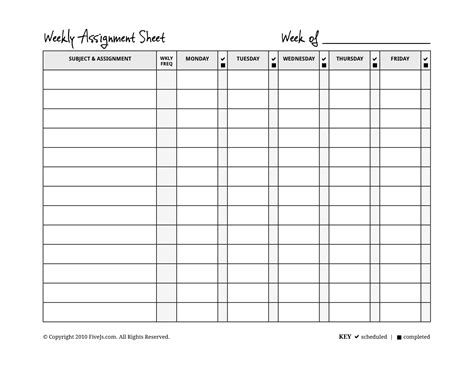 free printable weekly assignment calendar homeschool weekly assignment planner