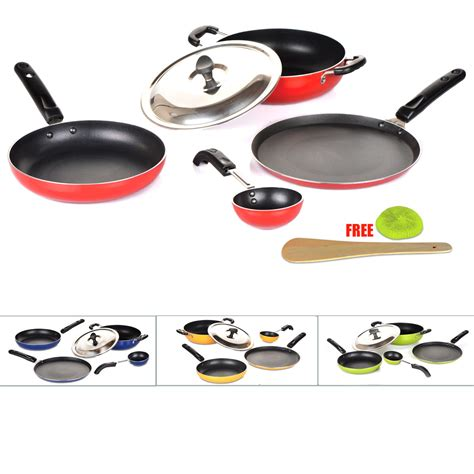 5 Pcs Non Stick Cookware Set buy 5 pcs coloured induction friendly non stick cookware set at best price in india on