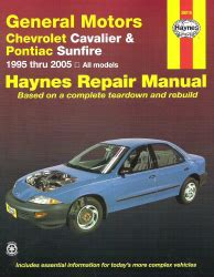 small engine repair manuals free download 2005 pontiac aztek security system 1995 2005 gm chevy cavalier pontiac sunfire haynes repair manual