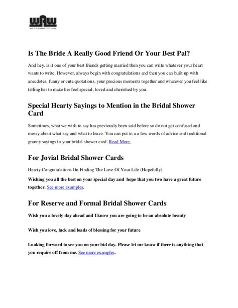 what to write on bridal shower advice cards what to write in a bridal shower card